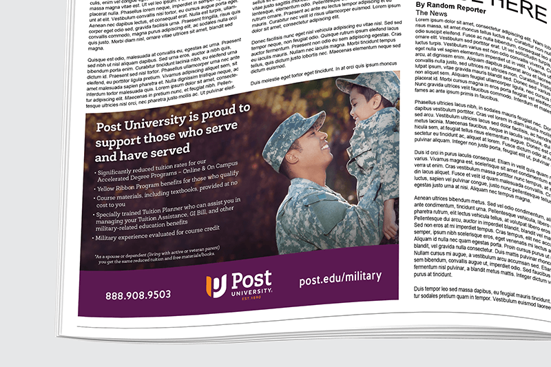 Post University Print Ad